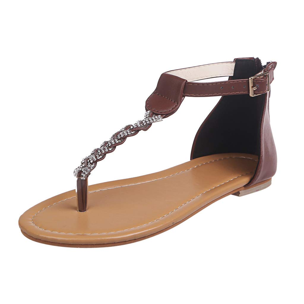 22bec2406a57 Amazon.com  AOP❤️Women s Sandals Ladies Summer Crystal Flat Flip Flops  Beach Sandals US Size 5-9 Roman Shoes  Clothing