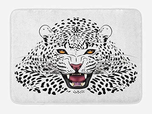 Weeosazg Safari Bath Mat, Leopard Illustration Predator Angry Silhouette Endangered Species Golden Eyes, Plush Bathroom Decor Mat with Non Slip Backing, 23.6 W X 15.7 W Inches, Black White Amber]()