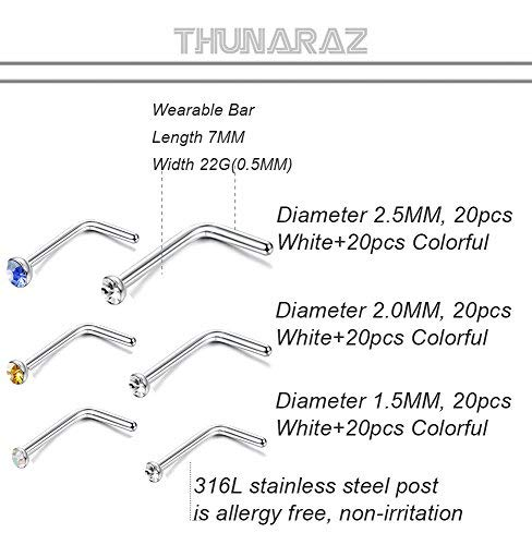 Thunaraz 120PCS Stainless Steel Nose Ring L-shaped Piercing Jewelry 22G 1.5mm 2mm 2.5mm For Men Women