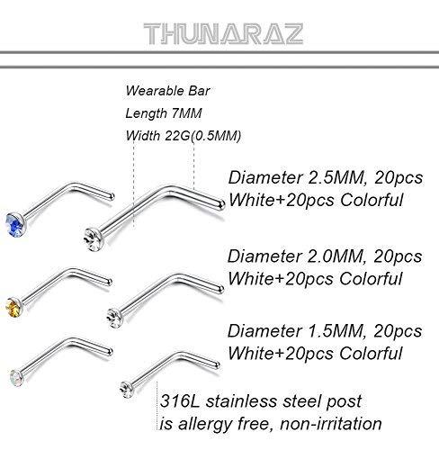 Thunaraz 120PCS Stainless Steel Nose Ring L-shaped Piercing Jewelry 22G 1.5mm 2mm 2.5mm For Men Women by Thunaraz