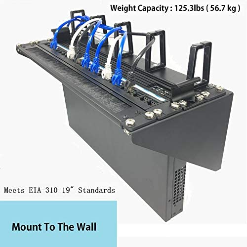Mofangtech 4U Foldable Wall Mount Patch Panel Bracket – 19 inch 125 lb Weight Capacity Steel Vertical Mounting Bracket for Network and Data Equipment MFT-HVWRF4U