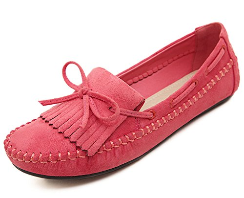 Easemax Womens Fashion Toe Casual Slip On Bowknot Flats Shoes Con Nappe Rosse