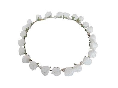 Buy Vogue Hair Accessories White Flower Tiara Flower Crown Flower