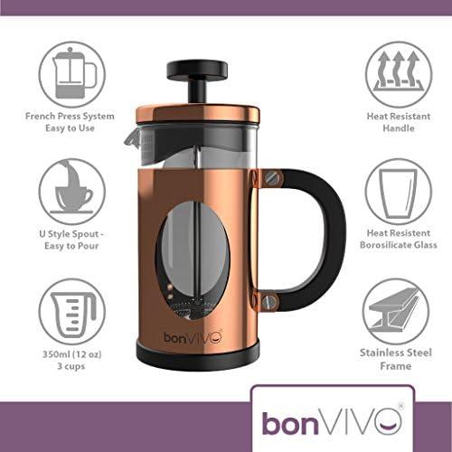 bonVIVO® GAZETARO I - Cafetière design french press à piston en inox et verre, finition cuivrée, avec filtres - taille S : 0,35 L / 350 ml