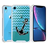 iPhone XR Case, Beyondcell Clear TPU + PC 4 Corner Case + Wireless Charging Compatible Design - Black Anchor/Chevron