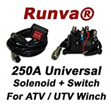 Runva Universal 250A 12V Solenoid Relay Contactor & Rocker Switch for ATV / UTV Winch
