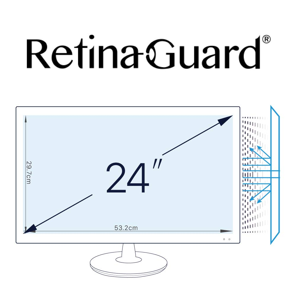 RetinaGuard Anti UV, Anti Blue Light Screen Protector for PC 24 Inch, SGS and Intertek Tested, Blocks Excessive Harmful Blue Light, Reduce Eye Fatigue and Eye Strain