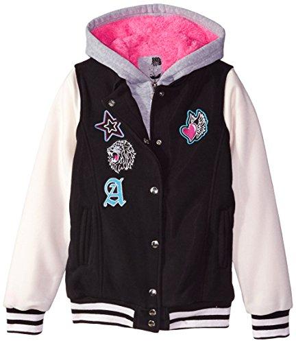 Hello Gorgeous Little Girls' Sherpa Lined Fleece Varsity Jacket, Black, - Close Kids