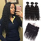 Brazilian Virgin Deep Wave Hair Bundles With Frontal 9A Grade 100% Unprocessed Deep Curly Human hair 3 Bundles With 13X4 Lace Frontal Closure Free Part (18 20 22+16frontal)
