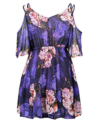 Mujeres Verano Cuello en V Sin Mangas Corto Vestido Impresión Floral Mini Dress Ropa Corta El Partido Playa Violeta
