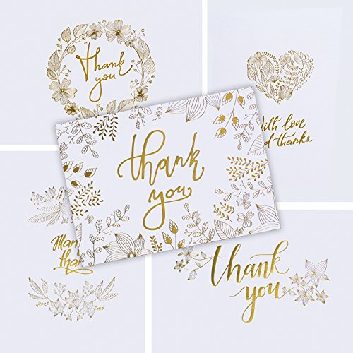 - 50 Thank You Cards with Gold Floral Script White