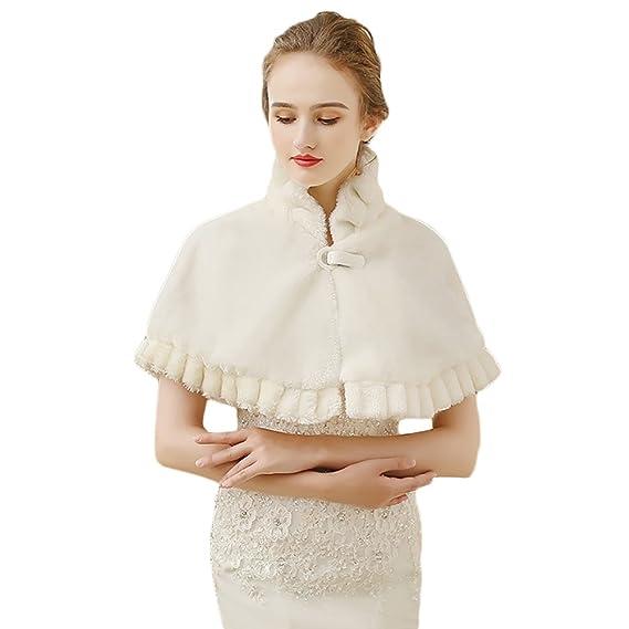 85eeb698a28d Icegrey Hiver Cape Femme Boléro en Fausse Fourrure Pour Robe de Soirée  Veste Mariage Châle Manteau
