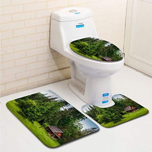MTSJTliangwan 3-Piece Bathroom Set, Bathroom Rug + Contour pad + lid Toilet seat, Old Log Cabin in The Forest Comfortable Flannel Rug