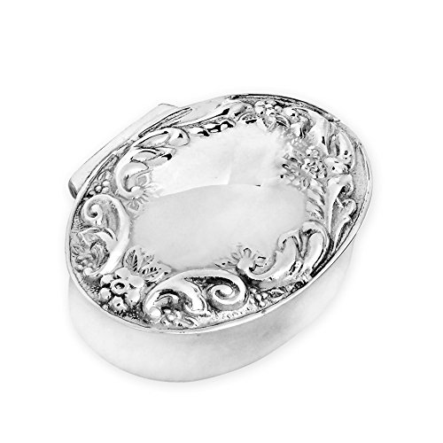 Victorian Floral Style Oval .925 Sterling Silver Pill Box Keepsake