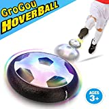 [Hover Soccer Air Power Football Disc] GroGou Air Power Indoor Outdoor Soccer/Football Disc Kids Toy Training soccer for Boy and Girl Colorful LED Light Foam Bumpers