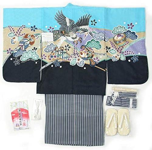 七五三 5歳用 羽織袴 12点フルセット 男の子着物【揚げ加工・半衿付け・腰ひも付け サービス】