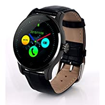 Heart Rate Monitor Smart Watch Bluetooth 4.0, Leelvis Fitness Tracker Water-resistant Sport Pedometer Round Curved IPS Screen Wristwatch for iPone iPad Android Cellphone (Black + Black Leather Band)
