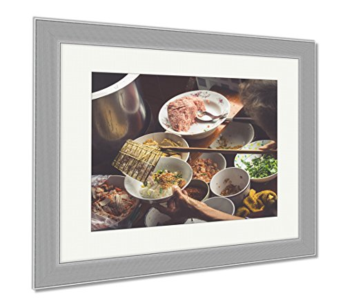 Ashley Framed Prints Thai Food Spicy Food At Damnoen Saduak Floating Market Near Bangkok Thailand, Wall Art Home Decoration, Color, 34x40 (frame size), Silver Frame, AG5874925 by Ashley Framed Prints