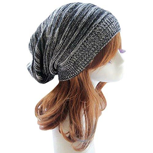 - Aivtalk Unisex Winter Warm Knit Hat Crochet Baggy Ski Hat Beanie Cap Beret Black