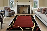 Maxy Home Contemporary Arches 7'10'' x 10'6'' Red Black Area Rug French Border Pasha Collection PAS4650