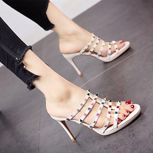 alto con estate Europeo alto sexy stile pantofole sandali tacco di toe toe tacco rivetti YMFIE in Sexy parti con silvery tacco donna scarpe belle tfqXXv
