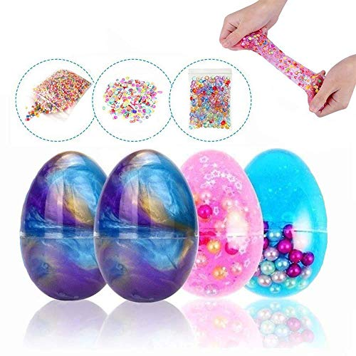 (Simuer Fulffy Soft Egg Slime Putty Galaxy Crystal Mud with Beads Magic Plasticine Stress Relief Toy with Fruit Slice,Fishbowl Beads,Foam Balls,6+3 Pack)