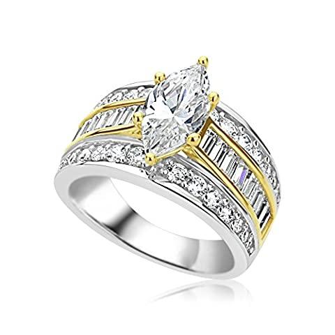 Rhodium Plated Sterling Silver 1.6 carat Marquise CZ High End Wedding Engagement Ring ( Size 5 to 9 ), - Sterling Silver Engagement Plated Ring