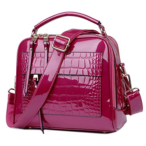 Women Handbags Crocodile Leather Fashion Shopper Tote Bag Female Luxurious Shoulder Bags,Hot Pink