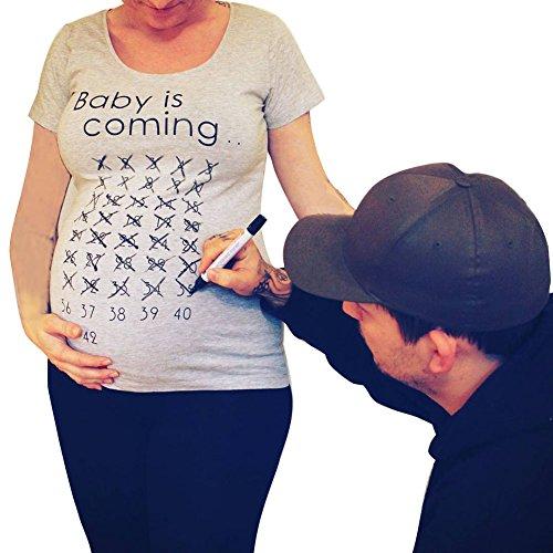 Is Shirt Grigio Corta Lettera Baby Magliette Manica Juleya Stampa Top Gravidanza maternità Coming Aqt7UY