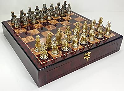"Medieval Times Crusades Knight Metal Busts Chess Men Set Gold and Silver Color Plating W/ 20"" Cherry Color Storage Board"