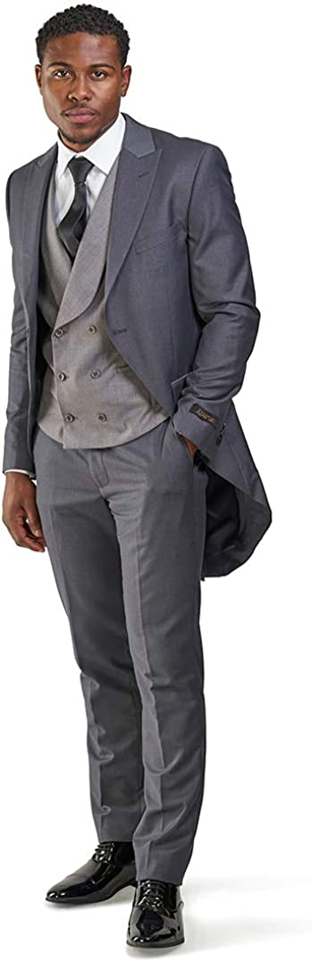 Edwardian Men's Formal Wear Slim fit 1 Button Peak Lapel 3 Piece Tuxedo Tail Coat Vest Pants $99.00 AT vintagedancer.com