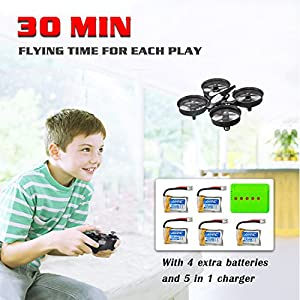 MysteryStone H36 Mini RC Quadcopter Drone with 5 Battery and Charger, Nano Drone Kit for Office RTF 2.4G 4CH 6 Axis with Headless Mode One Key Return, Mode 2 Remote Control UFO Drone for Kids (Black) by Huixinda