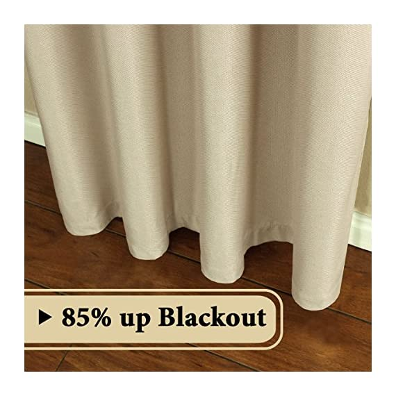 """H.VERSAILTEX Room Darkening Linen Curtain for Sliding Door (100"""" W x 96"""" L) Extra Wide Primitive Burlap Textured Linen Room Divider Curtain for Living Room/Patio (8ft Tall by 8.5ft Wide, Beige) - STANDARD SIZE: Sold per single panel, measures: 100 inch width by 96 inch length. Each panel has 16 antique copper grommets (rim of grommet is 2.4"""", while inner is 1.6""""), can be hung from a basic or decorative curtain rod ELEGANT BURLAP QUALITY: This classic wide curtain is made of rich faux linen fabric with natural blackout features, thick and heavy duty make the draperies more durable and long lasting, burlap effect will bring more vintage and graceful look to your window and room MULTIPLE FUNCTIONS: This extra wider panel can block out sunlight to control the light and balance the temperature in your rooms, high performance on thermal insulated, room darkening, energy efficient, noise reducing and privacy protecting - living-room-soft-furnishings, living-room, draperies-curtains-shades - 51oPM9Kt9EL. SS570  -"""