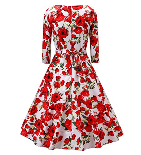V fashion Women's 1950's Long Sleeves Vintage Floral Swing Party Dress Spring Garden Tea Dress With Defined Waist - Fashion 1950 Womens