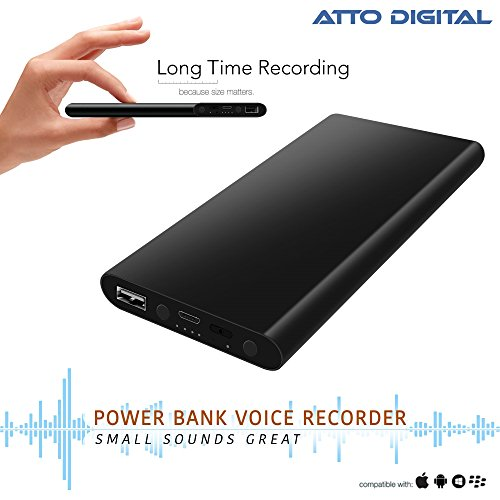 Most Powerful Voice Activated Recording - 380 Hours Long Battery Life | Voice Recorder - Power Bank Phone Charger - USB Flash Drive - 8 GB Capacity | poweREC by aTTo Digital by aTTo digital