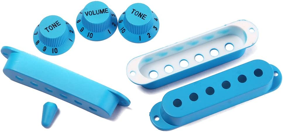 Dark Blue Artibetter Strat Guitar Pickup Covers Knobs Switch Tip Set for Replacement Accessory Kit