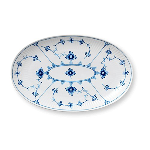 Blue Fluted Plain Oval Accent Dish ()