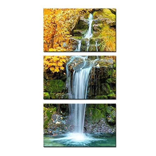 - Kreative Arts 3 Pieces Canvas Wall Art Waterfall in Yellow Autumn Landscape Vertical Picture Gallery Wrapped Giclee Canvas Print Paintings Ready to Hang for Kitchen Decor 12x20inchx3pcs