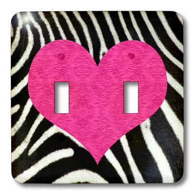 3dRose LLC lsp_20393_2 Punk Rockabilly Zebra Animal Stripe with Pink Heart Print Double Toggle Switch