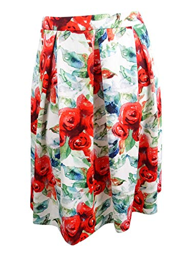 Tahari ASL Women's Petite Floral-Print Scuba Skirt (16P, Red/White/Green)