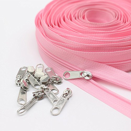 (Meillia Pink Nylon Coil Zippers By The Yard Bulk 10 Yards + 25PCS Silver Pulls for Sewing, Bags, Crafts, Decorating (Pink Colour))