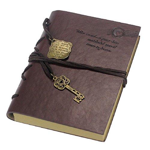 Amonfineshop Vintage magische Schlüssel String Retro Ledernotizbuch Tagebuch-Notizbuch
