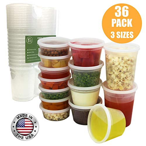 Food Storage Containers with Lids, Round Plastic Deli Cups, US Made, 8, 16, 32 oz, Cup Pint Quart Size, Leak Proof, Airtight, Microwave & Dishwasher Safe, Stackable, Reusable, White [36 Pack]