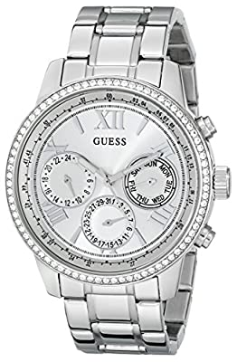 GUESS Women's U0559L1 Sporty Silver-Tone Stainless Steel Watch with Multi-function Dial and Pilot Buckle