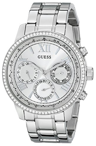 GUESS Women's U0559L1 Sporty Silver-Tone Stainless Steel Watch with Multi-function Dial and Pilot Buckle (Guess Steel Watch)