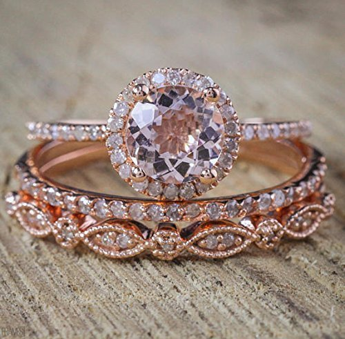 Band Morganite Ring - 2 Carat Morganite and Diamond Trio Wedding Ring Set On Rose Gold with Engagement Ring and Two Wedding Bands