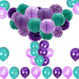 Arts & Crafts : Mermaid Party Decorations/Under the Sea Party Supplies 36pcs Teal Lavender Purple Pom Poms Lanterns Balloons for Mermaid Birthday Party Supplies Baby Shower Decorations Frozen Party Supplies