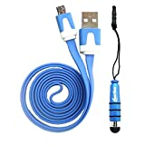 Emartbuy® Duo Pack For BLU Studio 5.0 C HD / BLU Studio 6.0 HD - Blue Mini Stylus + Blue Flat Anti-Tangle Micro USB Data & Charger Cable