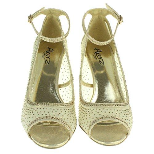 Mujer Señoras Malla Diamante Peep Toe Noche Nupcial Boda Fiesta Paseo Tacones altos Sandalias Zapatos Tamaño Oro