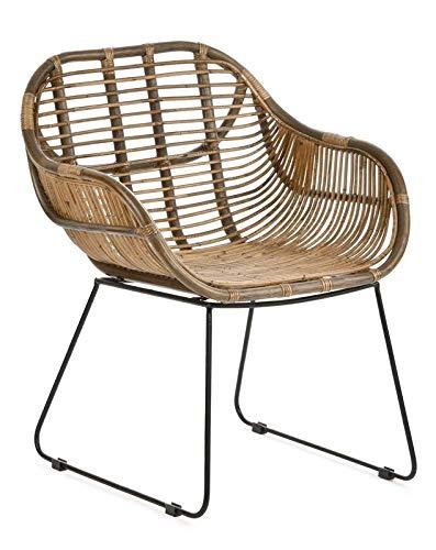 Animal Design Rattanstuhl Rattan Stühle Korb Stuhl Korb Sessel Braun Retro 50er Lounge Loft Esszimmer Garten Küche Bistro Balkon Terrasse Mit